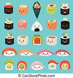 ensemble, fond, sushi, japonaise, asiatique, japon, emoji, kawaii, cuisine, caractère, isolé, émotions, sashimi, riz, rouleau, emoticon, nourriture, illustration, facial, dessin animé, restaurant, vecteur