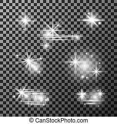 ensemble, fond, transparent, lumière étoiles, sparkly