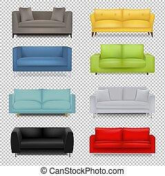 ensemble, fond, transparent, sofa, grand, isolé