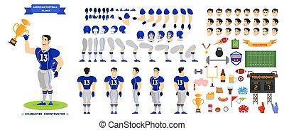 ensemble, football, caractère, joueur, américain, animation