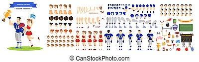 ensemble, football, caractère, joueur, américain, cheerleader