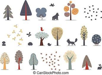 ensemble, forêt, arbres