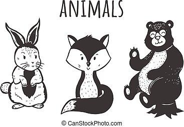 ensemble, forêt, caractères, animal, kawai