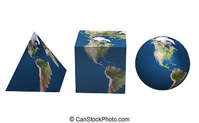 ensemble, formulaire, géométrique, planète, divers, la terre
