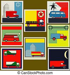 ensemble, fourgon, vendange, étiquettes, retro, camion