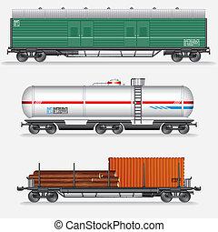 ensemble, fret, rail, waggons., formez voiture