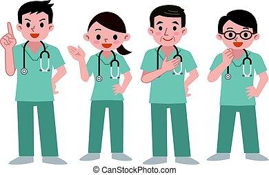 ensemble, frotter, médecins