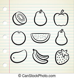 ensemble, fruit, icône, dans, griffonnage, style