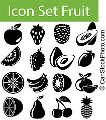 ensemble, fruit, icône