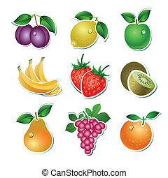 ensemble, fruit, vecteur