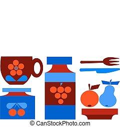 ensemble, fruits, isolé, illustration, tasse