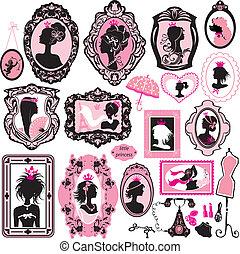 ensemble, furniture., portraits, -, accessoires, charme, noir, silhouettes., girl, princesse