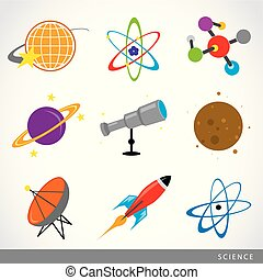 ensemble, fusée, science, univers, système, planète, vecteur, solaire, remplir, dessin animé, icône