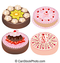 ensemble, gâteau, à, cerise, et, fraises