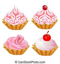 ensemble, gâteau, rose