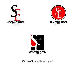 ensemble, gabarit, initiale, conception, lettre, logo, icône