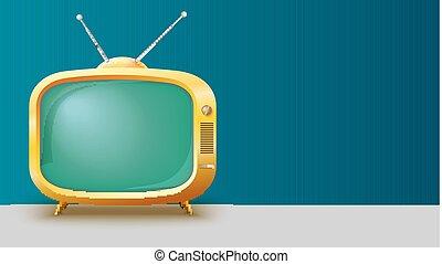 ensemble, gabarit, toile de fond, tv, vendange, écran, text., illustration, réaliste, jaune, endroit, long, annonce, vide, horizontal, 3d, retro