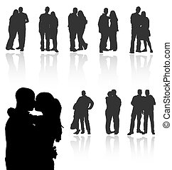 ensemble, gallery., couples, silhouettes, vecteur, reflections., mon, plus