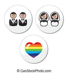 ensemble, gay, icônes, /, mariage, lesbienne
