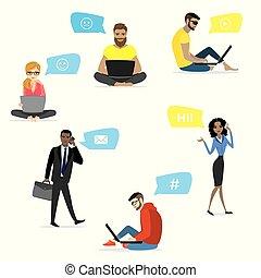 ensemble, -, gens, à, intelligent, gadgets, isolé, blanc, fond