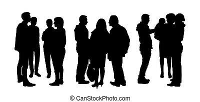 ensemble, gens, 1, conversation, silhouettes, autre, chaque