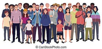 ensemble., gens, ados, isolé, enfants, vecteur, arrière-plan...