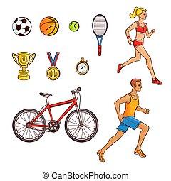 ensemble, gens, articles, hand-drawn, courant, sport