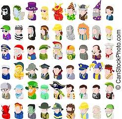 ensemble, gens, avatar, icône