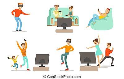ensemble, gens, gosses, maison, caractères, hommes, jouer, heureux, délassant, illustration, vecteur, jeux, femmes, vidéo