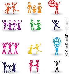 ensemble, gens, icônes