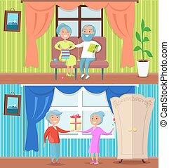 ensemble, gens, plus vieux, illustrations, maison, heureux