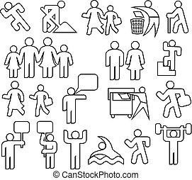 ensemble, gens, recyclage, grand-père, ensemble, femme, ligne, recycling), icônes, famille, gymnase, mère, wc, parent, signe, icône, (happy, père, enfants, icône, mince, femme, mâle, démonstrateurs