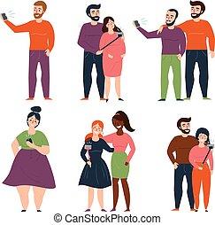 ensemble, gens, selfie, jeunes couples, mode, confection