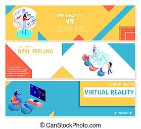 ensemble, gens, virtuel, jeux, bannières, jouer, 360