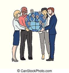ensemble, global, globe, -, symbole, association, tenue, affaires gens