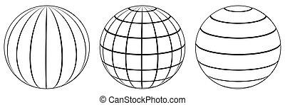ensemble, globe, longitude, sphères, grille, latitude, la ...