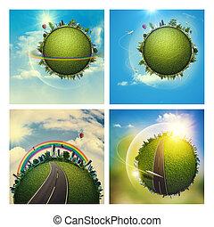 ensemble,  Globe, résumé, Arrière-plans, ambiant, La terre, ton