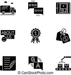 ensemble, glyph, espace, noir, média, blanc, présence, ...