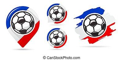 ensemble, goal., football, icons., vecteur, francais, football