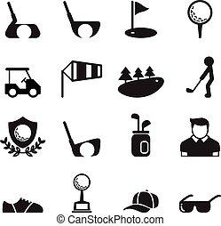 ensemble, golf, icône