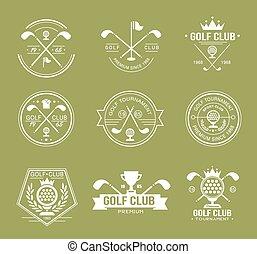 ensemble, golf, logos, club, étiquettes, emblèmes