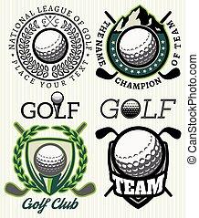 ensemble, golf, motifs, vecteur, attributes, insignes