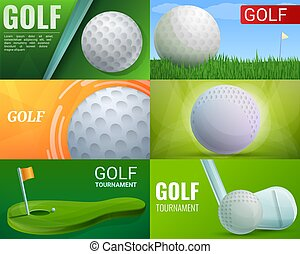 ensemble, golf, style, bannière, dessin animé