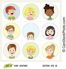 ensemble, gosses, avatar, icônes
