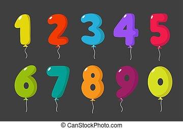 ensemble, gosses, balloon, isolé, anniversaire, vecteur, nombres, invitation, amusement, fête, dessin animé, carte, célébration