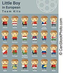 ensemble, gosses, kits, sport équipe, européen