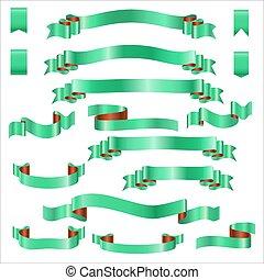 ensemble, gradient, illustration, vecteur, vert, rubans