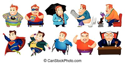 ensemble, graisse, gai, vecteur, illustrations., homme