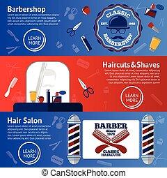 ensemble, graisse, scissor, rasoir, -, accessoires, etc, vecteur, coiffeur, peigne, bannières, soins personnels, polonais