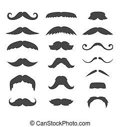 ensemble, grand, arrière-plan., vecteur, hipster, blanc, moustache